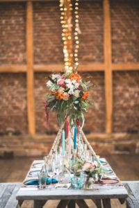 Wedding celebration in a barn, table, decoration