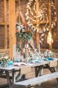 Wedding celebration in a barn, Indian wedding, table decoration