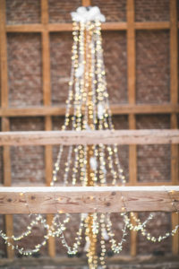 Wedding in a barn, decoration, strings of lights