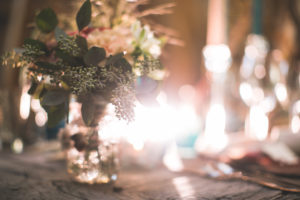 Well-laid table, table decoration at Indian wedding, light