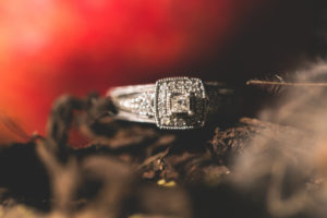 Jewellery, silver ring, close up
