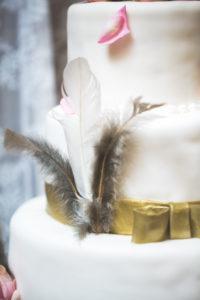 Wedding cake at Indian wedding, detail