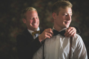 Bridegroom and groomsman, bow tie, help, tie, preparation, portrait