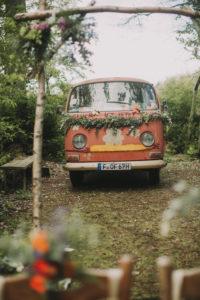 Old VW bus as a wedding car