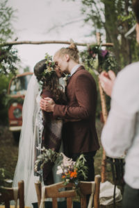 Bridal couple at alternative outdoor wedding