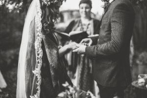 Alternate bridal couple at free wedding ceremony, close up