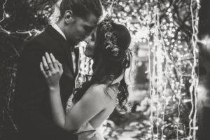 Bride and groom at alternative wedding celebration, tread