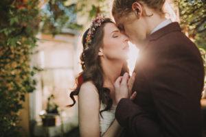 Bride and groom at alternative wedding, portrait