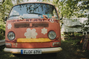 Old VW bus as a wedding car, close up
