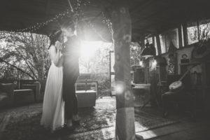 Bride and groom at alternative wedding, dancing