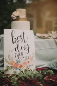 Glückwunschschild und Hochzeitstorte bei alternativen Hochzeitsfeier, close-up