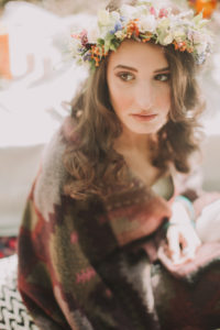 Alternative wedding, bride with wreath of blossoms, serious, uncertainly, thoughtfully, portrait