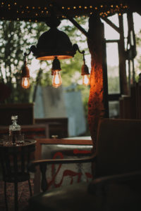 Alternative wedding, garden small house, inside, lamp, lights