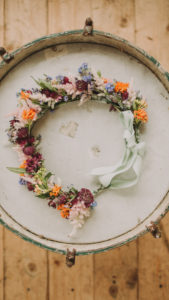 Alternative wedding, floral wreath of the bride