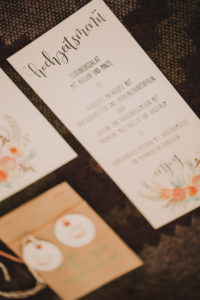 Alternative wedding, menu card, table card, Stilllife