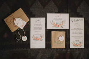 Alternative wedding, preparation, menu cards, invitations, presents and name cards, Stilllife