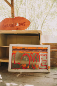 garden shed, signs / old window with the inscription love