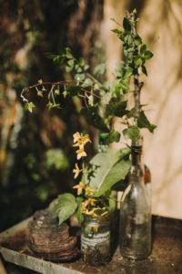 Gläser, Flasche, Blumen, Efeu