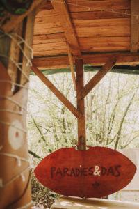 Gartenhäuschen, Schild, Aufschrift, Paradies&Das