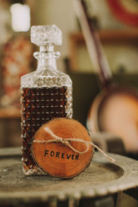 Stilllife, wedding, table with whisky and sign 'Forever', symbol, nervousness, tension,