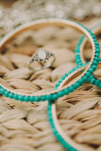 Jewellery at alternative wedding, ring and bangles