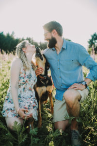 Couple, in love, walk, meadow, summer, dog,