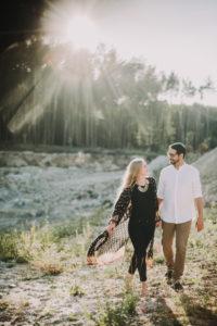 Meadow, couple, in love, back light