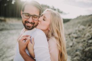 Couple in love, hug, kiss, back view,