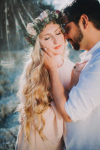 Couple, in love, touch, woman, hair ring,