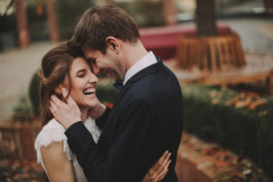 Bridal couple, laughing, hug, standing,