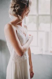 Braut, seitlich, Fenster, stehen,