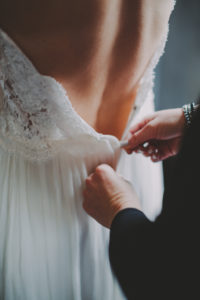 Wedding, bride, detail, back, woman, dress, close,