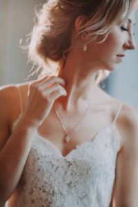 Bride, portrait, side view, detail,