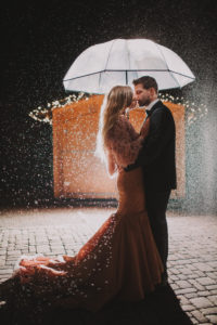 Couple, in love, hug, stand, sideways, kissing, umbrella, evening,