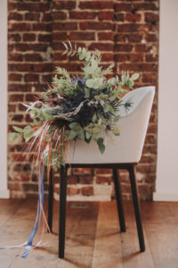 Chair, flower bouquet,