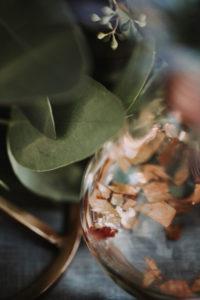 Dekoration, Blätter, Eukalyptus, Glas, Detail, Unschärfe,