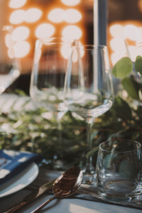 Wedding, table, set, detail, glasses,