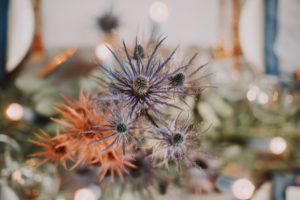 Table decoration, thistles, blue, copper, detail, blur,