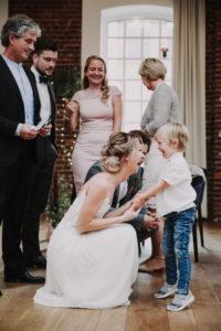 Hochzeit, Braut, Junge, Spaß, Gäste, lächeln,
