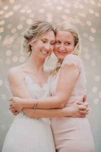 Wedding, bride, maid of honor, hug,