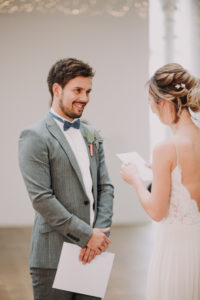 Bride and groom, standing, bridal vow, reading,