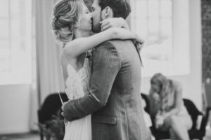 Happy bridal couple, hug, kiss,