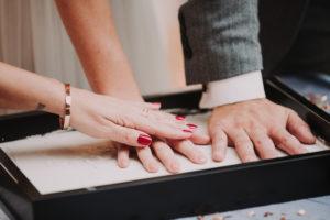 Hochzeit, Brautpaar, Handabdruck, Detail,