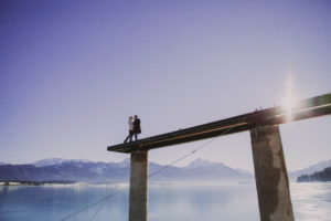 Couple on footbridge