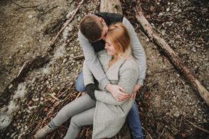 Young couple lakeside