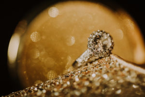golden shoe, diamond ring, close-up