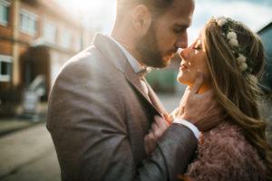 Newlyweds, outside
