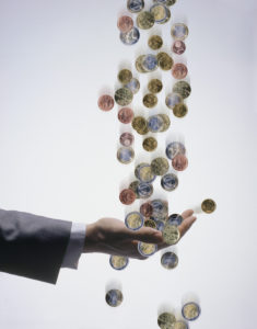 Man, detail, hand, stretched out,  Coins, catches,   Series, men's hand, businessman, money, change, Euro, Euro coins, catches, concept, profit, money profit, money blessing, wage, reward, success, studio,