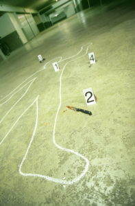 Park garage, trace protection, victims,  Outline, drawing, weapon, knives,,  Blood,  Series, parking garage, dangerously, crime, murder victims, murder, death, chalk outline, numbers, enlightenment, proof, sun glass, blood tracks,,