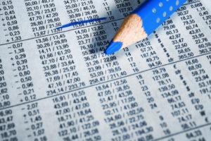 Finance newspaper, share prices, crayon, marking,